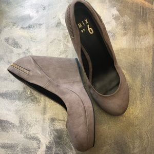 Mix No. 6 Vegan Suede Wedge Heel Taupe Brown SZ 9
